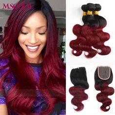 7A Burgunder Ombre Brasilianisches Haar Mit Schließung Körperwelle 3/4 bundles Billig 1b 99j Rot Ombre Brasilianische Reine Haar Mit verschluss