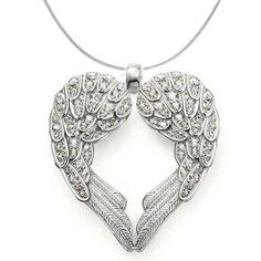 Sterling Silver Angel Heart Guardian Angel Wing Pendant Necklace with Cubic Zirconia Accents