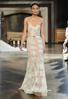 Sheer Lace Column/Sheath Gown With Illusion Neckline by Inbal Dror Fall/Winter 2015