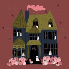 Haunted House - I love the pink pumpkins Halloween Eve, Halloween Canvas, Halloween Poster, Halloween Drawings, Halloween Birthday, Halloween House, Holidays Halloween, Vintage Halloween, Halloween Crafts