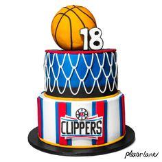 LA Clippers Basketball NBA cake. Basketball topper