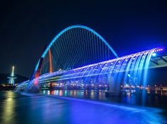 Banpo Bridge Rainbow Fountain is one of Seoul's coolest attractions, although it only operates from April to October. The fountain is dreamy during the day, but it really comes alive when the sun goes down and 200 lights illuminate the streams of water.