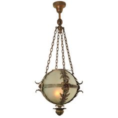 Woodchuck Antiques - Beaux Arts Style American Orb Fixture - 1stdibs ❤ liked on Polyvore featuring furniture, lighting, fillers, decor and lamps