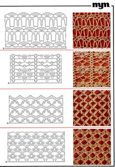 Crochet Edging And Borders Crochet Borders and Edging Col Crochet, Crochet Stitches Chart, Crochet Motifs, Crochet Borders, Crochet Diagram, Filet Crochet, Knitting Stitches, Knitting Patterns, Crochet Patterns