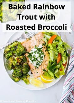 Make this simple one-pan recipe for Baked Rainbow Trout Fillets with Roasted Broccoli for a healthy, light and delicious meal that can be ready in 30 minutes. #rainbowtrout #trout #bakedtrout #30minutes #roastedbroccoli #SweetandSavouryPursuits Paleo Recipes, Whole Food Recipes, Baked Trout, Pan Recipe, Healthy Food, Yummy Food, Balanced Life, One Pan Meals, Rainbow Trout