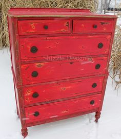 Funky Chunky Distressed Red Highboy Dresser