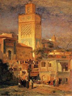Algérie - Peintre American Samuel Colman, Jr. (1832-1920), Aquarelle 1875 , Titre .. Mosquée de Sidi Haloui, à Tlemcen..