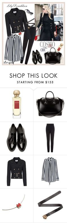 """""""Paris Fashion Week Womenswear Fall/Winter 2016/2017♥♥♥"""" by marthalux ❤ liked on Polyvore featuring Hermès, Givenchy, Burberry, Vielma London, Anthony Vaccarello, Mulberry, Squair, StreetStyle, paris and stripes"""
