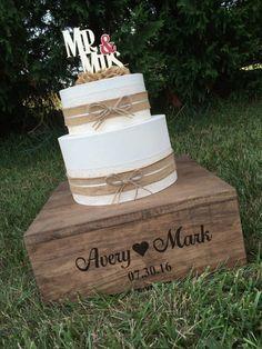 Rustic Wedding Cake Stand And Keepsake Box Personalized Wood