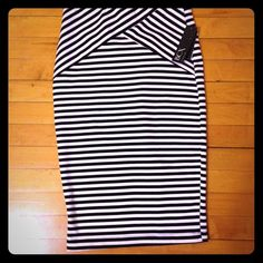 Brand new stretch pencil skirt New with tags black and white striped pencil skirt. Can be professional or sexy! It was gifted to me but is way too small. Maybe good for a 4 or 6? Let me know if you want measurements! BCX Skirts Pencil