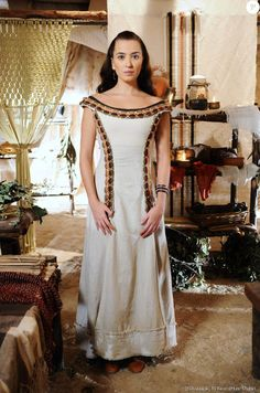Vestido Chaia (Juliana Boller), A terra Prometida, figurino. Brazilian soap opera costumes