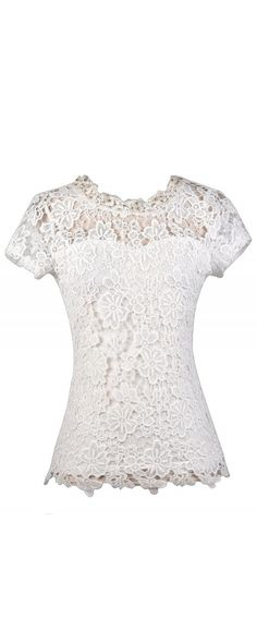 Lily Boutique Pearl Glam Embellished Crochet Lace Top in Ivory, $32 Cute Off White Lace Top, Ivory Lace Top, Cute Summer Top, Cute Lace Top, Capsleeve Lace Top, Pearl Lace Top www.lilyboutique.com