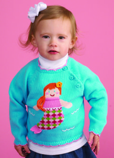 Zubels intarsia knit sweater. 100% cotton. Don't miss the matching mermaid knit doll. Visit www.zubels.com for more products and information.