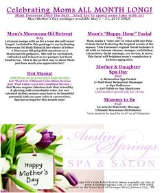 We are celebrating moms all month long, with our May specials! Spa Specials, Happy Hour Specials, Salon Promotions, Spring Spa, Moroccan Oil, Promotional Events, Resort Spa, Cut And Color