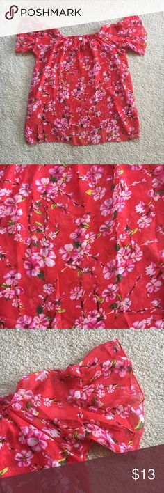 """Dress, Coverup Baby Doll Cherry Blossoms Print Worn twice, like new. Trimmed off the straps, as it didn't flow. Much cuter now, great for the beach or night out. Wear with shorts and a tank and your ready to rumble! Super mini! Or wear to the beach/pool/Oceanside! Probably a """"one size"""" but I would say medium. It could be even more baggy that's just me though. Hurry before I change my mind, it's so cute! Can't find another one on posh.... I don't know what the tag says... forgive me. It's…"""