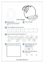 Alphabet Recognition Activity Worksheet - Capital Letter - O For Orange Alphabet Writing Practice, Alphabet Tracing, Alphabet Activities, Pre Writing, Writing Skills, Preschool Math, Kindergarten Worksheets, Free Printable Worksheets, Printables