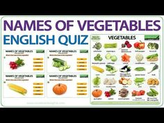 Names of Vegetables in English - Vocabulary Quiz There is a photo of a vegetable on the left. To the right of this photo are four buttons with the names of f. English Quiz, British English, Learn English, English Websites, Free English Lessons, Name Of Vegetables, Different Vegetables, Woodward English, Vegetable Chart