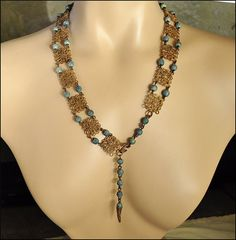 Art Deco Necklace Belt Egyptian Jewelry Turquoise Gold by boylerpf, $135.00