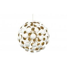"""•28"""" diameter  •metal  •matte white and gold leaf finish  •10' steel cable  •clear cord, hardwire  •10W halogen bulb/G4 base x 10"""