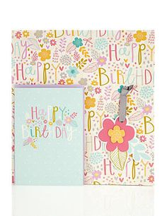Stylised Text Birthday Card & Wrap Pack