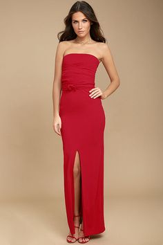 6f6d026591c2 The chances for a magical evening are high in the Own the Night Red  Strapless Maxi