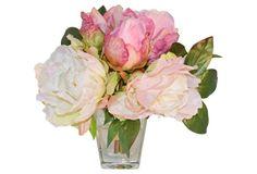 "11"" Peony Arrangement in Vase, Faux"