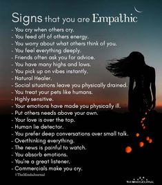 I'm a strong empath when it comes to being the healer, listener and human lie detector. Strangers tell me very personal things and my friends call me the healer. I need my alone time to recharge, That's the introvert in me! Empath Traits, Intuitive Empath, Empath Abilities, Psychic Abilities, Empathy Quotes, Leadership Quotes, Infj Personality, E Mc2, Psychology Facts