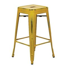 "OSP Designs BRW3026A4-AY Bristow 26"" Antique Metal Barstool, Antique Yellow with Blue Specks Finish, 4 Pack"