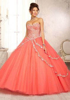 The prices on this website are so ridiculously low! Any style you can think of!! Fashion Color Beaded Sweetheart Coral Quinceanera Dress