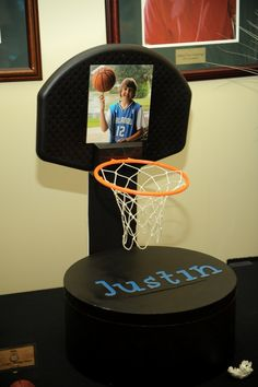 Need Bar Mitzvah theme ideas? Check out this basketball themed Bar Mitzvah for inspiration! Bar Mitzvah Decorations, Bar Mitzvah Themes, Bar Mitzvah Party, Diy Party Decorations, Basketball Party, Basketball Cakes, Cheerleading Locker Decorations, Basketball Decorations, Graduation Card Boxes
