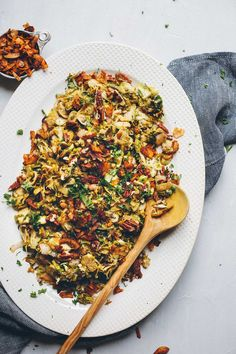AMAZING Warm Brussels Sprout Slaw with Coconut Bacon! 30 minutes, SO flavorful and healthy!