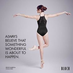 Always believe that something wonderful is about to happen because you never know what is around that corner. Beautiful shot of @taytayballet in our Bloch MJ7182 Jozette for Mirella leotard. £35.00 available in black, pink flambé and marine blue. #blochleotard #blocheu #ballet #dance #danceleotard #leotard #blackleotard #quote #dancequote #motivationalquote #taytayballet #orlandoballet #believe #blochdance