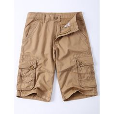 Solid Color Multi-Pocket Straight Leg Zipper Fly Men's Cargo Shorts #men, #hats, #watches, #belts, #fashion, #style