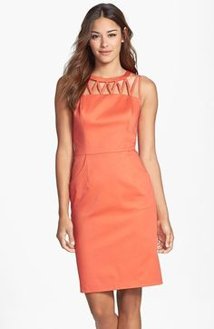 Adrianna Papell Caged Yoke Stretch Cotton Sheath Dress available at #Nordstrom