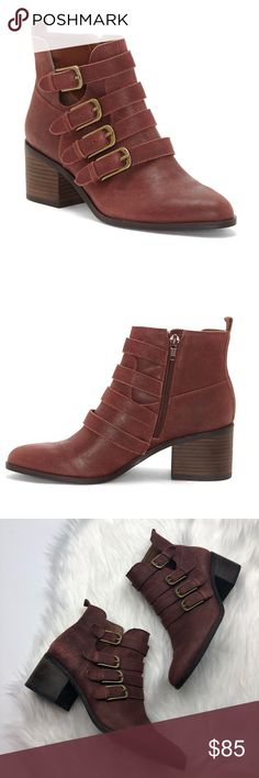 Lucky Brand Loreniah Red Leather Buckle Booties So cute and perfectly on trend! Clay red brown color with gold buckle and straps. Size 8. Barely worn, excellent pre owned condition. No trades!! 011018180 Lucky Brand Shoes Ankle Boots & Booties