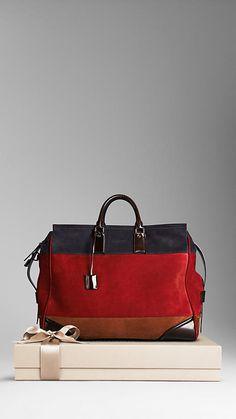 Burberry Large Block Stripe Suede Holdall Men's Bag. Might be a men's bag but I want it for a women's bag!