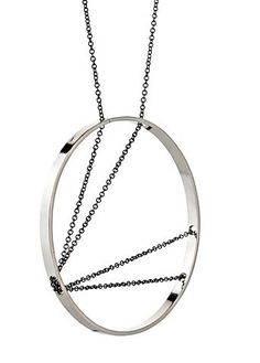 Vanessa Gade - Inner Circle Necklace 107 in Sterling Silver and Oxidized Chain