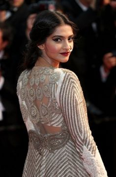 Sonam Kapoor at Cannes 2013 in Anamika Khanna from back