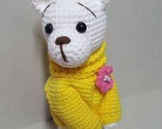 Items similar to Crochet Amigurumi Bear with Embroidery on Etsy Crochet Teddy Bear Pattern, Crochet Patterns Amigurumi, Stuffed Toys Patterns, Beautiful Crochet, Handmade Toys, Etsy, Turtleneck, Embroidery, Fleur De Lis