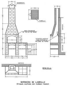 Barbacoa paso a paso parte) Outdoor Barbeque, Barbecue Area, Outdoor Oven, Outdoor Fire, Outdoor Cooking, Built In Braai, Barbecue Design, Brick Bbq, Summer Kitchen