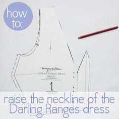 megan nielsen design diary: Darling Ranges sewalong: how to raise the neckline Sewing Hacks, Sewing Tutorials, Sewing Tips, Sewing Ideas, Sewing Projects, Pattern Paper, Fabric Patterns, Sewing Patterns, Pattern Grading