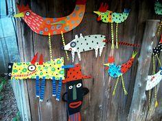 Use PasteBoard + chopsticks :: Brazil Folk Art Arte Popular, Brazil Art, South American Art, 2nd Grade Art, Motifs Animal, Thinking Day, Art Lesson Plans, Art Classroom, Art Club