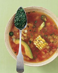 Mexican Fiesta Soup with Roasted Tomatillo and Cilantro Pesto Recipe on Yummly
