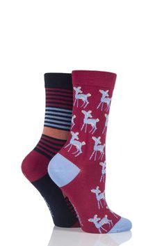 6a34685ccdf Ladies 2 Pair SockShop Deer Patterned and Striped Bamboo Socks Bamboo Socks