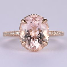 Big 9x11mm Oval Cut Morganite and Diamond Engagement Ring 14k Rose gold Filigree Retro Vintage Floral Stacking Ring