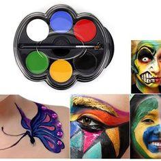 Peinture Corporelle, Saebye 6 Couleurs Palette Maquillage Corporel Visage Déguisement Paintng pour les enfants, les Parties, Noël (type 1)