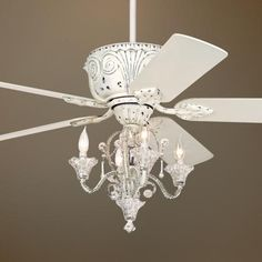 Crystal antique white finish ceiling fan with remote