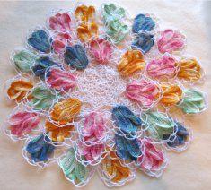 Vintage Variegated Tulip Doilies Set Crochet Pattern