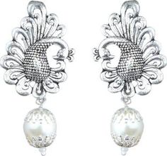 Waama Jewels White Pearl silver Plated back Push Style for Women Pearl Brass Drop Earring