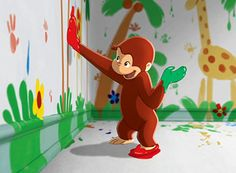 curious george have a portion of the wall painted by george